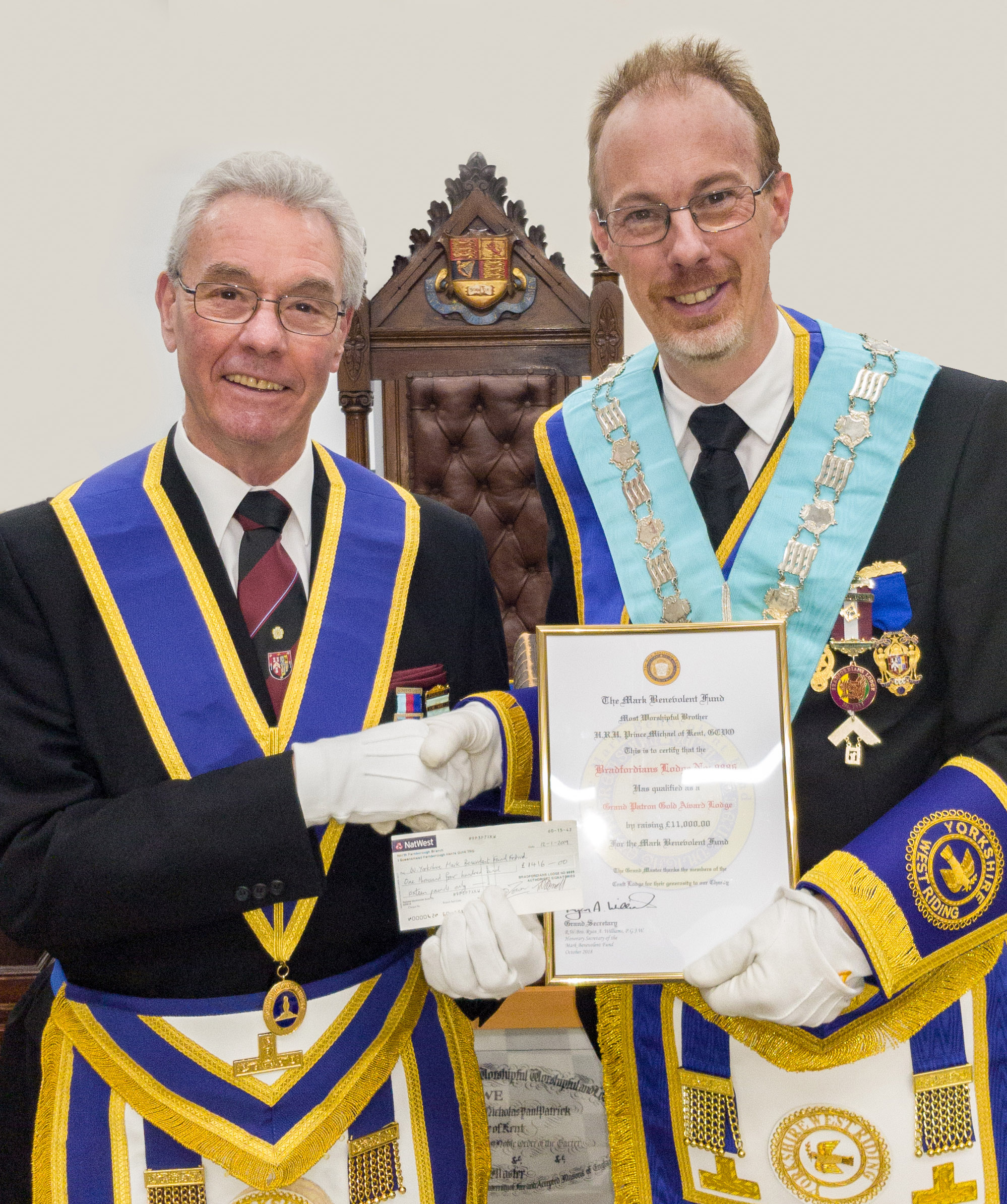 2nd Northern Masonic Variety Show – Final donation from Bradfordians Craft Lodge